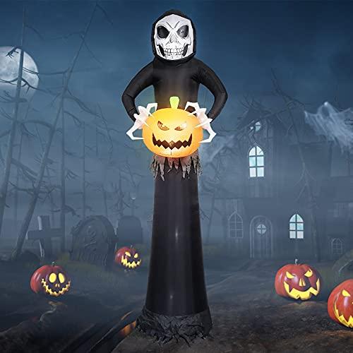 EBANKU 8.8Ft Halloween Aufblasbar Dekoration,Riesige Halloween Geist Kürbis mit LED-Lichtern für...