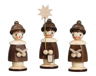 Weihnachtsfiguren Kurrende, Natur – 3 Kurrendesänger – Holzfiguren - Holz – Höhe 6,2 cm -...