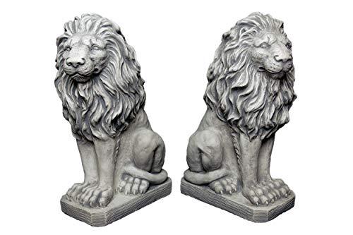 gartendekoparadies.de Sonderangebot: Herrliches Löwen Paar Torwächter aus Steinguss, frostfest