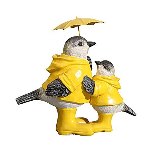 sunronal Regenschirm Vogel Harz Dekoration Kreative Kleintier Handwerk Gartenschmuck Outdoor-Statuen...