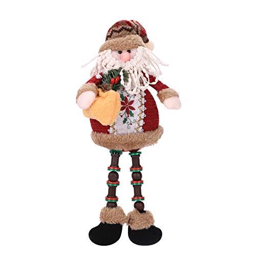 Weihnachtlicher sitzender Weihnachtsmann, Weihnachts-Ornamente, lange Beinpuppen, Plüsch, Tisch,...
