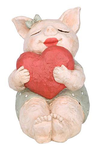 GILDE Figur Schwein - rotes Herz - Geschenk Muttertag - Glücksbringer - 18,5 cm
