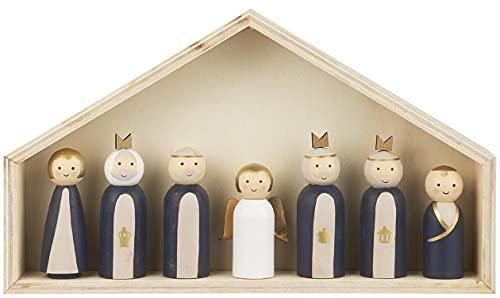 IB Laursen Weihnachts Krippe mit 7 Holz Figuren Set Krippen Weihnachten Deko Neu