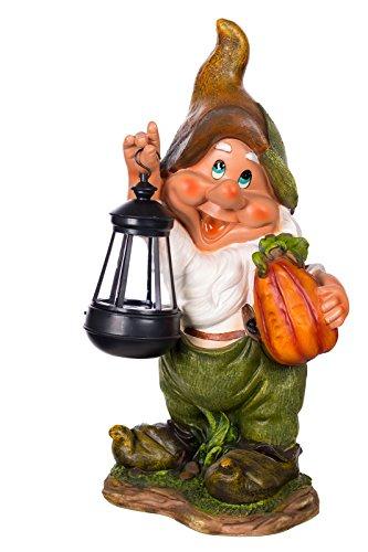 Birendy Figur Zwerg Gartenzwerg Gartenwichtel mit LED Solarlampe NF11021-1D Groß Deko Zwerg,...