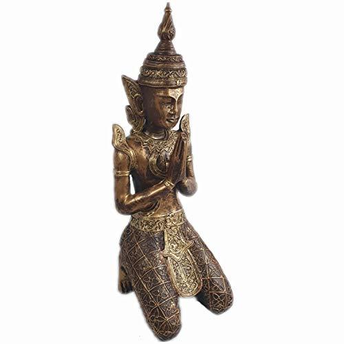 Asien Buddha Figur Tempelwächter, 80 cm, bronzefarben, wetterfeste Gartenfigur aus Kunstharz,...