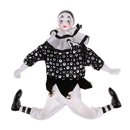 FLAMEER Lustige Clown Mann Porzellan Puppe im Kleidung Spielzeug Halloween Dekoration Sammlerstück...