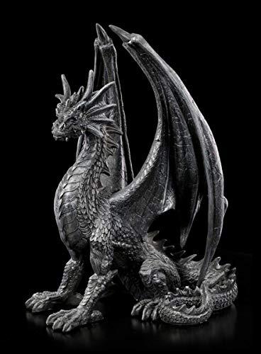 Schwarze Drachen Gothic Figur - Black Wing | Fantasy Dekofigur, Dekoartikel, handbemalt, H 37 cm