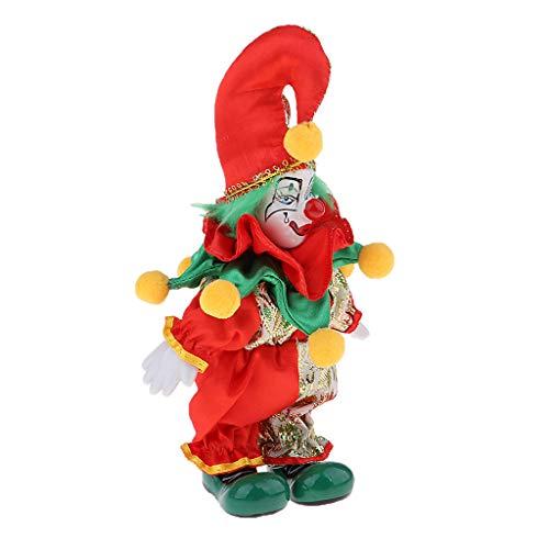 non-brand Lustige Clown Porzellanpuppe im bunten Kostüm Clownpuppe Handwerk Halloween Dekoration -...
