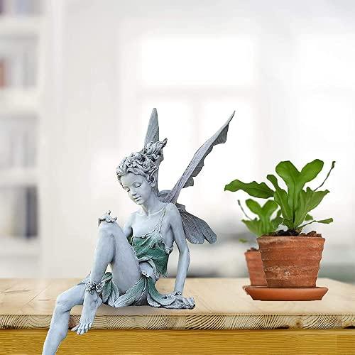 Zueyen Sitzende Feenstatue, dekorative Statue für Gärten , Statue Yard Skulptur im Freien,...