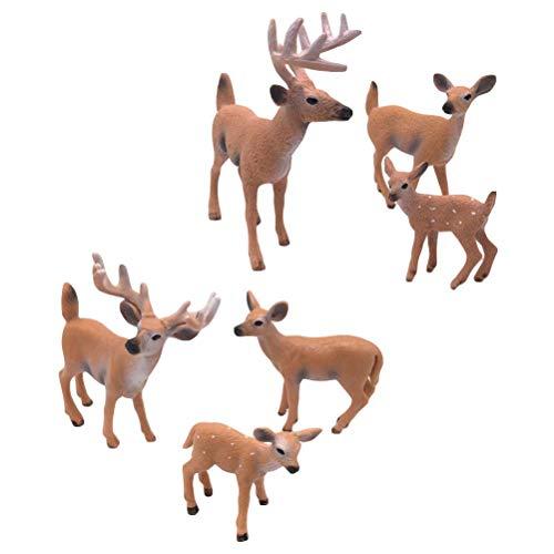 SUPVOX 6pcs White-Tailed Deer Figuren Ornamente Tierfiguren Sammlung Spielzeug Home Office...