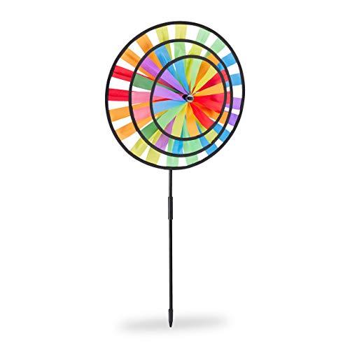 Relaxdays, bunt Windrad, Gartenstecker im Regenbogen Design, Kinder, für Balkon oder Terrasse, HBT:...
