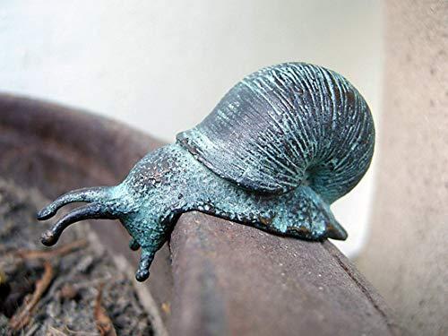 pompidu-living handgefertigte Bronze-Schnecke - Kleine Schnecken-Statue als schöne Gartendeko -...