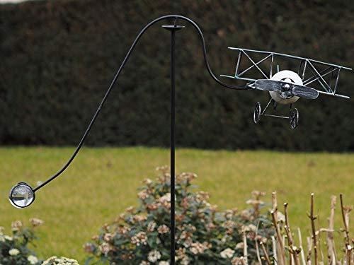 Thermobrass Windspiel XXL Wippe Gartendeko Gartenstecker Figur Außendeko Gartenfigur Flugzeug roter...