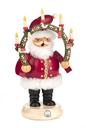Räuchermann Weihnachtsmann mit Kerzenbogen von DREGENO SEIFFEN 20,5cm – Original erzgebirgische...
