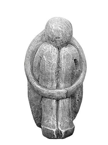 Tiefes Kunsthandwerk Steinfigur Single in Schiefergrau, abstrakte Deko-Figur für Haus und Garten,...