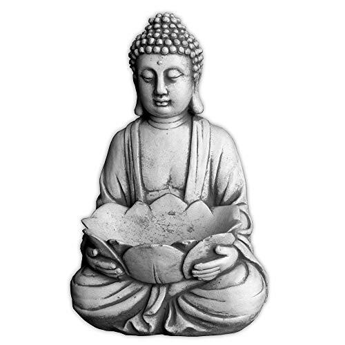 gartendekoparadies.de Massiver Stein Buddha mit Schale Mönch Gartendeko Raumdeko Steinguss...
