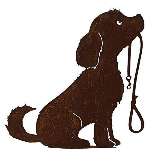 Dekoration Gartenfigur - Hundedeko: Hund mit Leine auf Bodenplatte - Höhe 50cm - Edelrost...