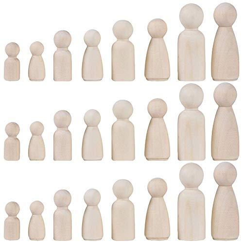 INTVN holzfiguren zum bemalen, 24 Holzfiguren Spielfiguren Basteln Holz Puppen Krippenfiguren...