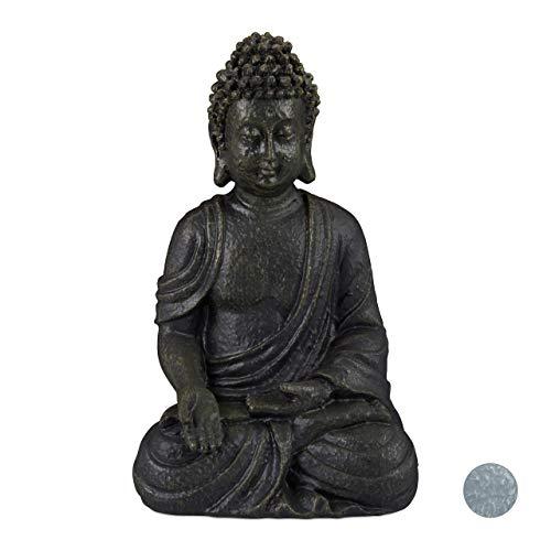 Relaxdays Buddha Figur sitzend, 30 cm, Gartenfigur, Dekofigur Wohnzimmer, Keramik, wetterfest,...