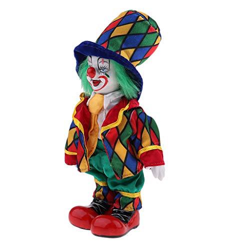 Lustige Stehende Porzellan Puppe mit Clown Kostüm, Ornament für Halloween Haus Tisch Dekoration -...