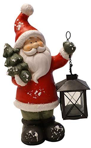 khevga Weihnachtsdeko Deko-Figur Weihnachtsmann beleuchtet mit Laterne