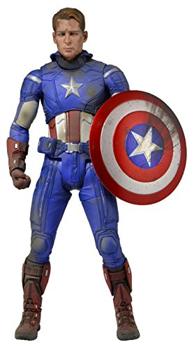 NECA 61225 - Avengers Battle Damaged Captain America Action Figur, 45 cm
