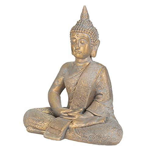 ECD Germany Buddha Figur sitzend, 48cm hoch, aus wetterfestem Polyresin, Bronze, Feng Shui, Buddha...