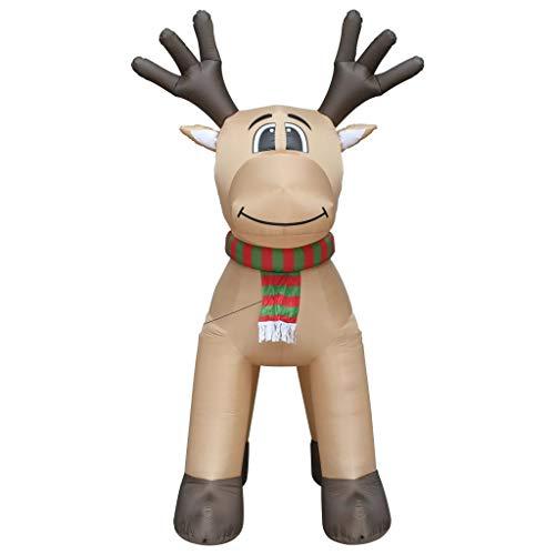 vidaXL Rentier Aufblasbar Riesig Dekoration Weihnachten Figur Winter Elch Weihnachtsdekoration...