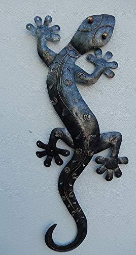 Trendshop-online XXL Gecko Eidechse Salamander Echse Wanddeko Metall Antiksilber 98 cm Gartendeko...