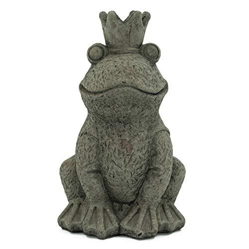 Bambelaa! Froschkönig Figur Garten Skulptur Deko Gartenfigur Groß Für Außen und Innen Sitzend...