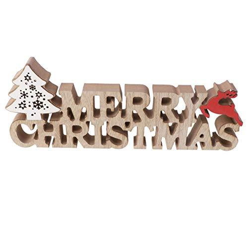 Garneck Weihnachtliche Holz-Tischdekoration 'Merry Christmas' Schild Figur LED Ornament für...
