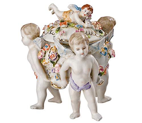 aubaho Porzellan Dose Deckeldose Schale Anbietschale Engel Antik-Stil Porzellandose
