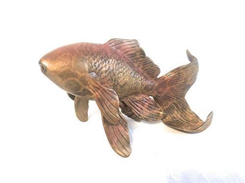 H. Packmor GmbH Bronzeskulptur Goldfisch mit Wasserspeier - Teichdekoration Gartenskulptur - 18x11x8...