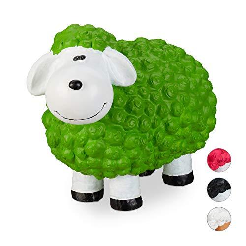 Relaxdays XXL Gartenfigur Schaf, Tierfigur, wetterfest, handbemalte Gartendeko, innen & außen,...