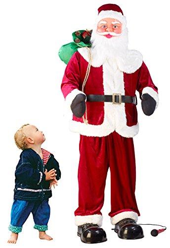 infactory Santa Claus: Singender und Tanzender XXL-Weihnachtsmann mit Karaoke, 160 cm...
