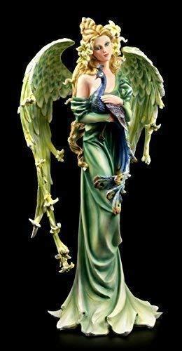Ausgefallene Engel Figur Lilie mit Pfau 54 cm - grün Elfe Fee Fantasy Deko Engelfigur