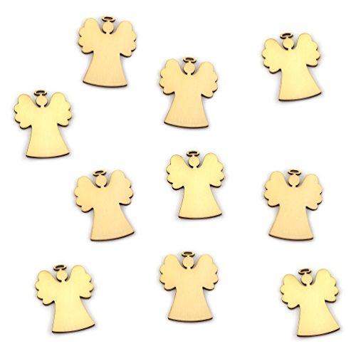 Oblique-Unique® 10 Stück Natur Holz Engel oder Weihnachtsbaum Anhänger mit Schnur als...