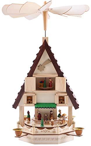 Brubaker Weihnachtspyramide Adventshaus 49 cm - Weihnachtskrippe auf 4 Etagen - Kerzenpyramide mit 4...