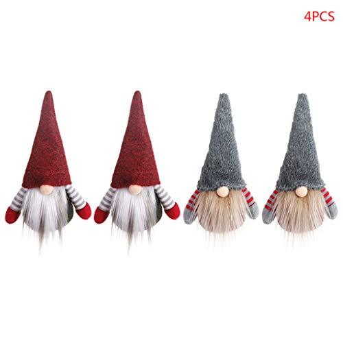 fifijuanC 4 Teile/Satz Schwedische Wichtel Santa Dolls Long Hut Elf Weihnachten Tomte Nisse Figur...