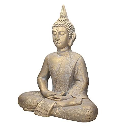 ECD Germany Buddha Figur sitzend, 63cm hoch, aus wetterfestem Polyresin, Bronze, Feng Shui, Buddha...