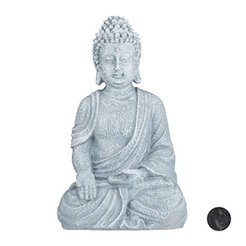 Relaxdays, hellgrau sitzende Figur, 40 cm hoch, Feng Shui, Outdoor, Garten Dekofigur, große Zen...