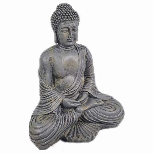 Aspinaworld Sitzende Buddha Figur, 41 cm, wetterfeste Gartenfigur aus Kunstharz, Thailand Figur, Zen...