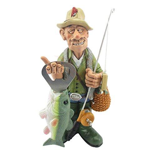 Unbekannt Angler mit Flaschenöffner Lustige Figur Funny Sports Comicfigur Dekofigur