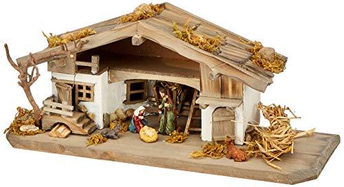 Unbekannt NK04 Krippenstall-Weihnachtskrippe-Holzkrippe-Tischkrippe inkl. 3 Teilg. Figurenset,...