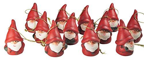 khevga 12er Set Christbaumschmuck aus Terracotta Weihnachtsmann Wichtel rot - Deko-Hänger...