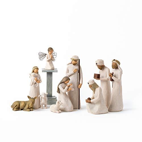 Weidenbaum Krippenfiguren mit DREI Weisen Set Starter- Three Wisemen + Angel, 11-Piece Natur