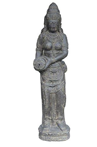 korb.outlet Wasser-speier Frau mit Krug Steinguss/stehende Teich-Figur Shiva 123cm / Skulptur für...