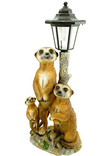 Kremers Schatzkiste Erdmännchen Familie mit Solarlaterne Figur Gartenfigur 51 cm...