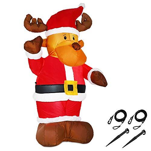Monzana Aufblasbares Rentier 135cm LED Beleuchtet Befestigungsmaterial Weihnachtsdekoration...
