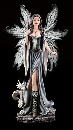 Große Elfen Figur mit Zauberstab und Drache - Magierin